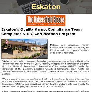 Eskaton's Quality & Compliance Team Completes NRPC Certification Program