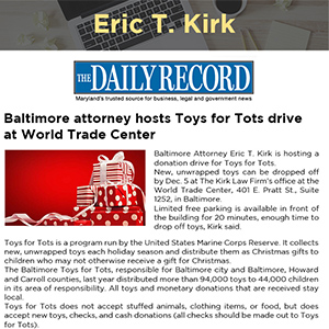 Baltimore attorney hosts Toys for Tots drive at World Trade Center