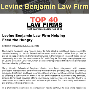 Levine Benjamin Law Firm Helping Feed the Hungry