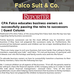 CPA Falco educates business owners on successfully passing the reins to successors