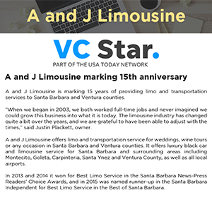 A and J Limousine marking 15th anniversary