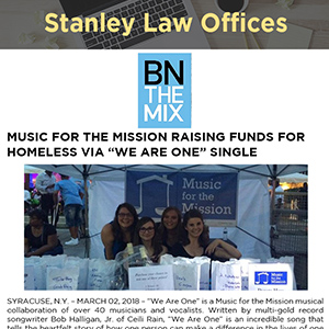 "MUSIC FOR THE MISSION RAISING FUNDS FOR HOMELESS VIA ""WE ARE ONE"" SINGLE"