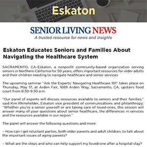 Eskaton Educates Seniors and Families About Navigating the Healthcare System