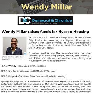 Wendy Millar raises funds for Hyssop Housing