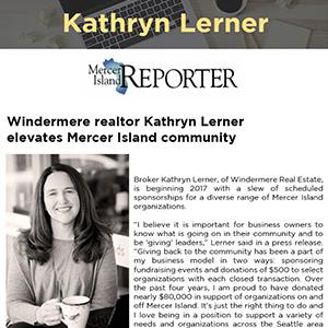Windermere realtor Kathryn Lerner elevates Mercer Island community