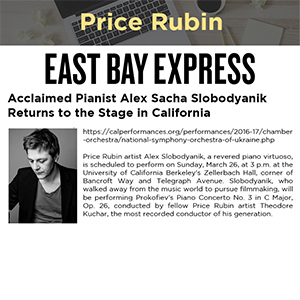Acclaimed Pianist Alex Sacha Slobodyanik Returns to the Stage in California