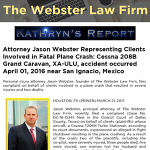 Attorney Jason Webster Representing Clients Involved in Fatal Plane Crash