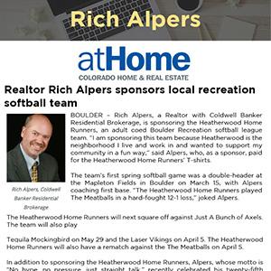 Realtor Rich Alpers sponsors local recreation softball team