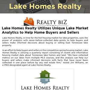 Lake Homes Realty Utilizes Unique Lake Market Analytics to Help Home Buyers and Sellers