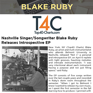 Nashville Singer/Songwriter Blake Ruby Releases Introspective EP