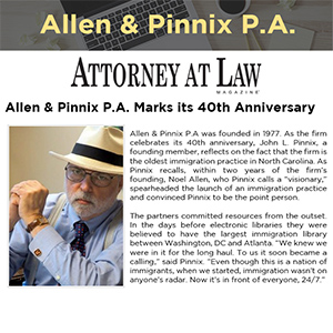 Allen & Pinnix P.A. Marks its 40th Anniversary