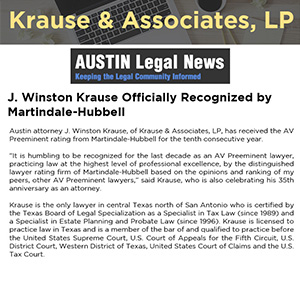 J. Winston Krause Officially Recognized by Martindale-Hubbell