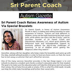 SRI PARENT COACH RAISES AWARENESS OF AUTISM VIA SPECIAL BRACELETS