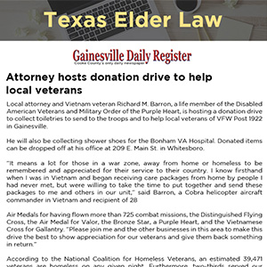 Attorney hosts donation drive to help local veterans