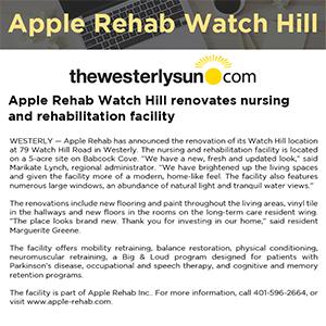Apple Rehab Watch Hill renovates nursing and rehabilitation facility