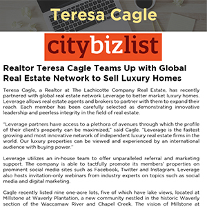 Realtor Teresa Cagle Teams Up with Global Real Estate Network to Sell Luxury Homes
