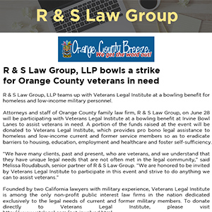 R & S Law Group, LLP bowls a strike for Orange County veterans in need