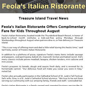 Feola's Italian Ristorante Offers Complimentary Fare for Kids Throughout August