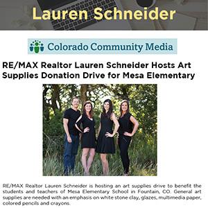 RE/MAX Realtor Lauren Schneider Hosts Art Supplies Donation Drive for Mesa Elementary