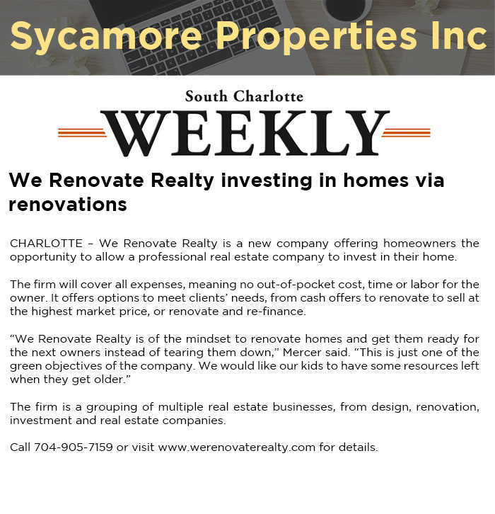 We Renovate Realty investing in homes via renovations