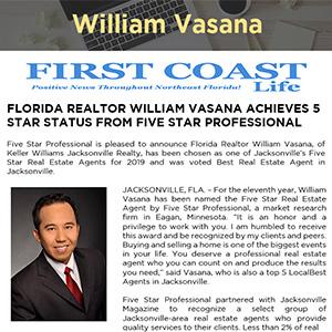 FLORIDA REALTOR WILLIAM VASANA ACHIEVES 5 STAR STATUS FROM FIVE STAR PROFESSIONAL