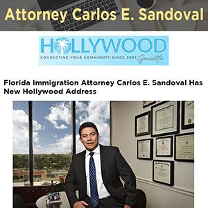 Florida Immigration Attorney Carlos E. Sandoval Has New Hollywood Address